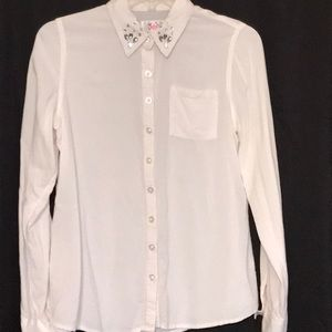 Girls white button down with embellished collar